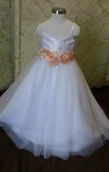 peach flower girl dresses