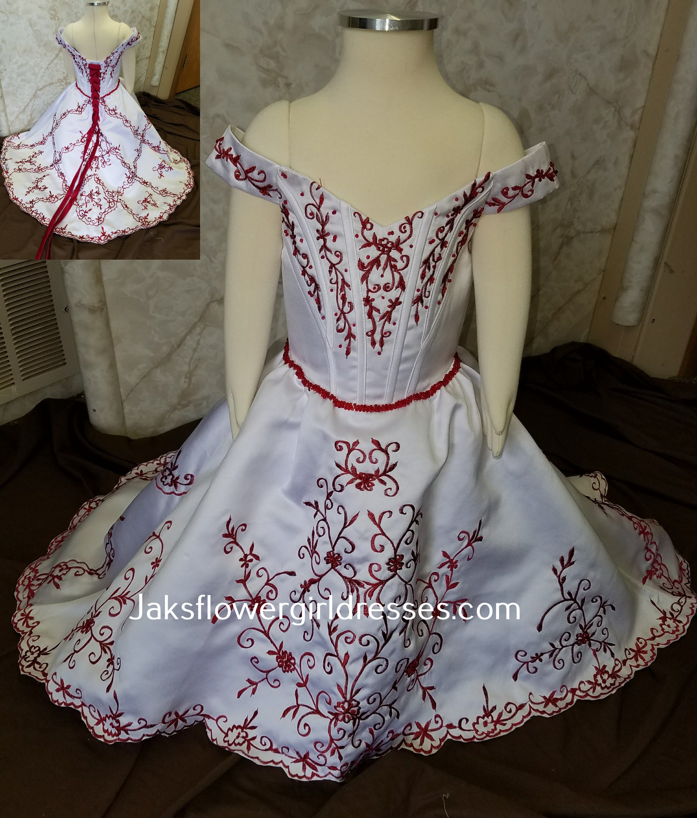 Red And White Infant Flower Girl Dress Off Shoulder Flower Girl