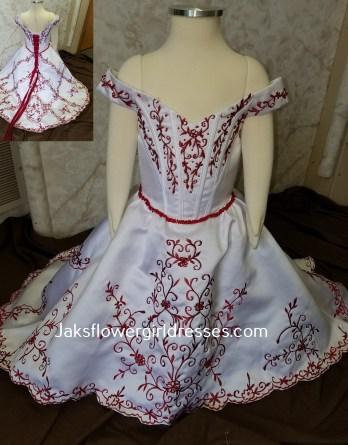 red and white infant flower girl dress