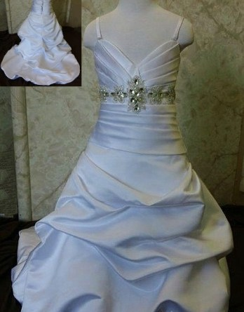 Jewel beaded sash flower girl dress. White sweetheart dress with silver beaded sash. Pick up skirt with small train.