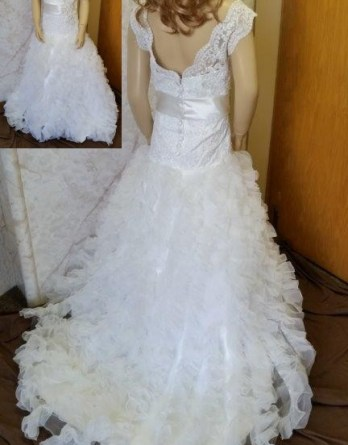 Ivory ruffled organza flower girl dress