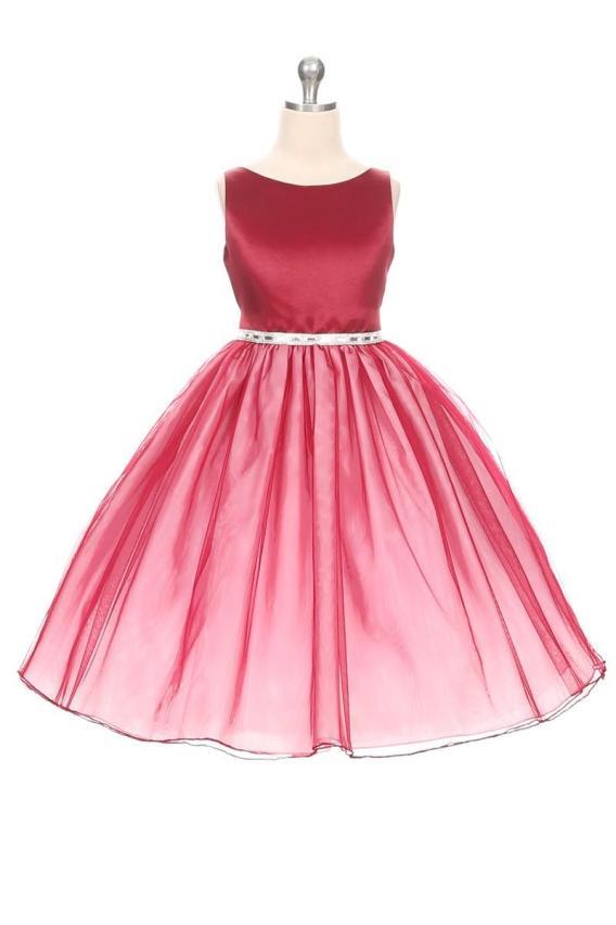 cheap burgundy girls dress