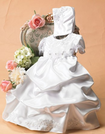 white satin christening gown