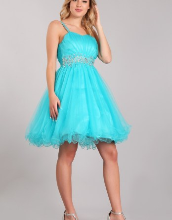 Studded girls cocktail dresses. Doubled strap sweetheart bodice. Dazzling jewel waistline, and wire hem tulle skirt.