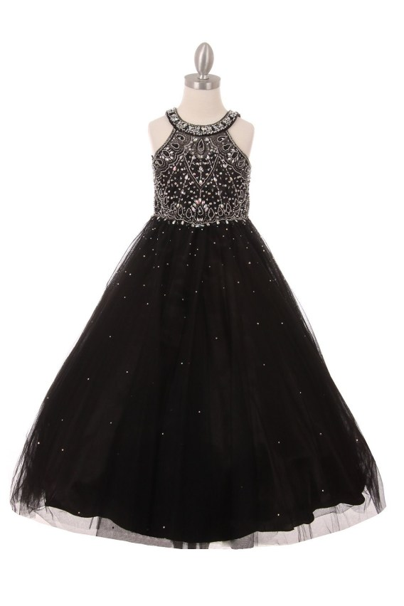 Girls black princess style long dress rhinestones pageant wedding party ball gown.