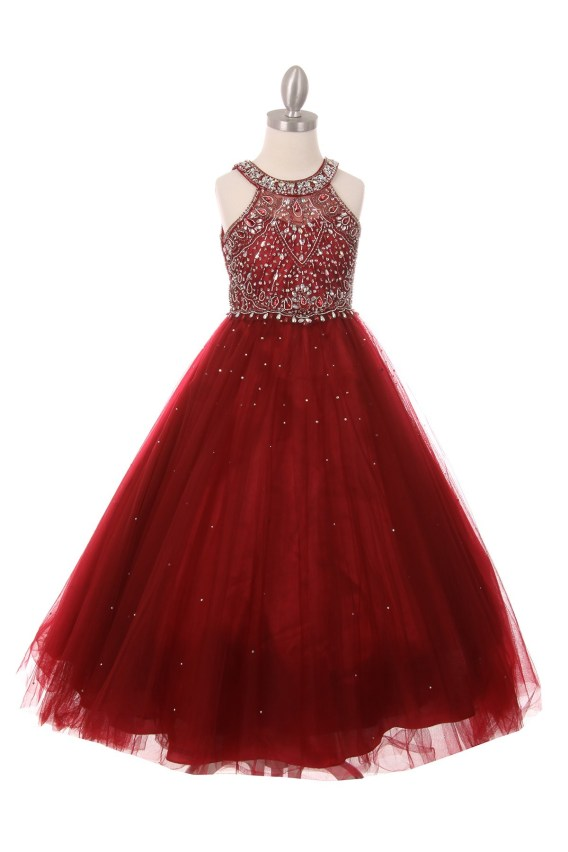 Girls burgundy Princess Style Long Dress Rhinestones Pageant Wedding Party Ball Gown