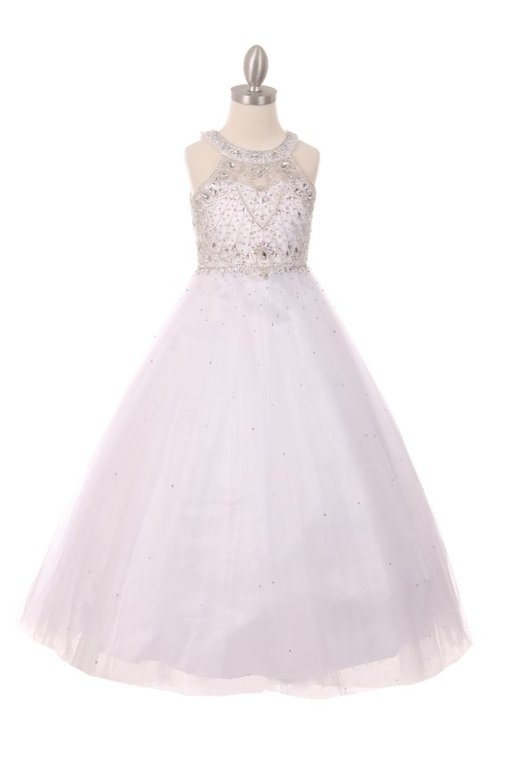 Girls white Princess Style Long Dress Rhinestones Pageant Wedding Party Ball Gown