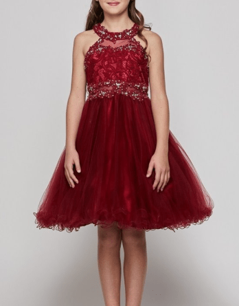 Little Girls Sparkle Rhinestones Halter Lace Junior Bridesmaid Pageant Flower Girl Dress Burgundy