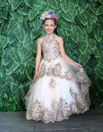 Gorgeous champagne flower girl dress with halter neck and open back.