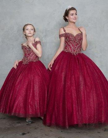 burgundy child ball gown