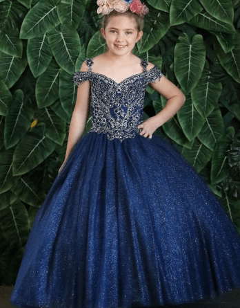 navy child ball gown
