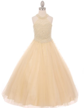Sophisticated halter neck, pearl covered bodice and ladylike look. Girls long champagne pearl embellished party dress.