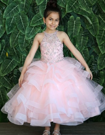 Horse-Tail Ruffle Ball Gown Flower Girl Pageant Dress KY217