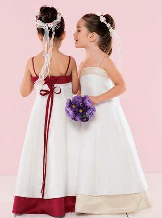 cheap white and apple red flower girl dresses