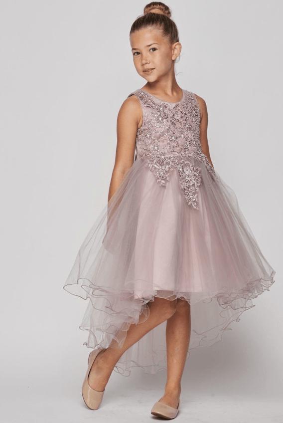 Girls high low dress with wire hem train. Sleeveless tulle dress, with lace, pearls and sparkling rhinestone bodice.