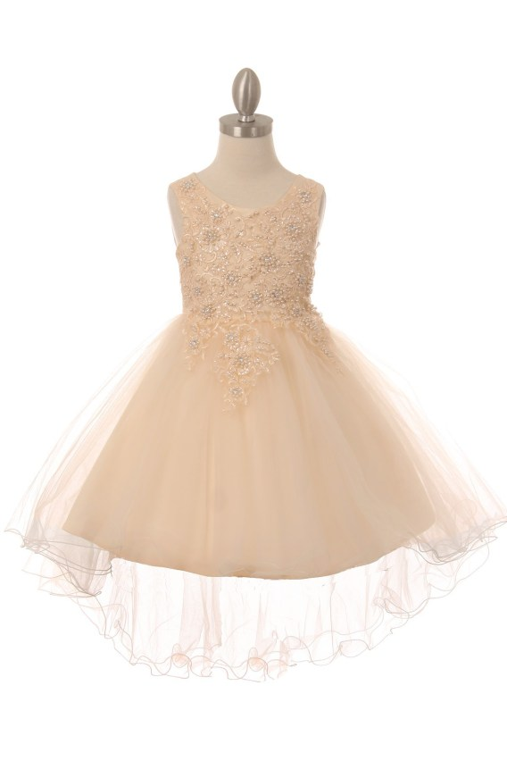 Sleeveless tulle & lace dress, with pearls and sparkling rhinestones. Girls champagne high low dress with wire hem train.