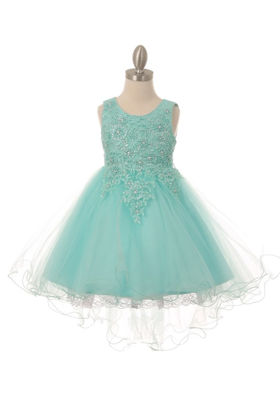 Sleeveless tulle & lace dress, with pearls and sparkling rhinestones. Girls aqua high low dress with wire hem train.