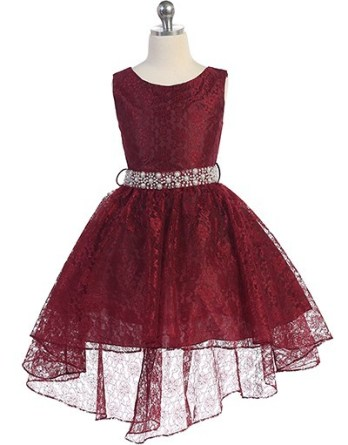 Hi-low allover lace dress in burgundy