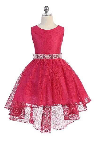 Hi-low allover lace dress in fuchsia