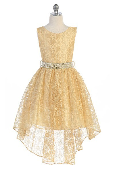 Hi-low allover lace dress with a voluminous skirt and detachable rhinestone belt. Gold flower Girl dresses with tie back.