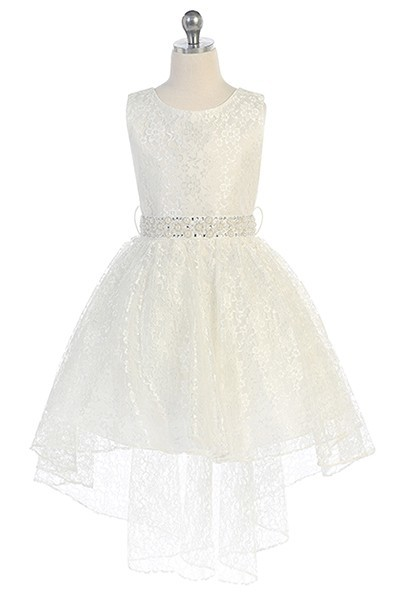 Hi-low allover lace dress with a voluminous skirt and detachable rhinestone belt. Ivory flower Girl dresses with tie back.