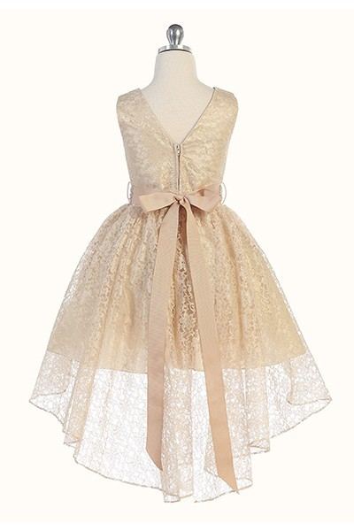 Hi-low allover lace dress in taupe
