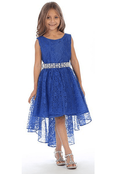Hi-low allover lace dress in royal blue