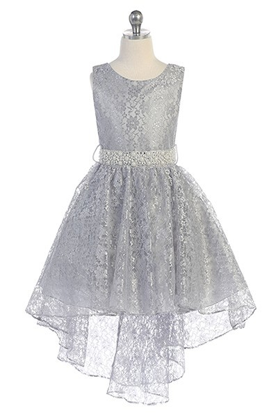 Hi-low allover lace dress in silver