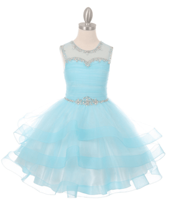 blue organza tulle dress
