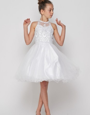 Perfect formal wear for little girls. Short layered tulle dress with sweetheart illusion neckline, beaded bodice.