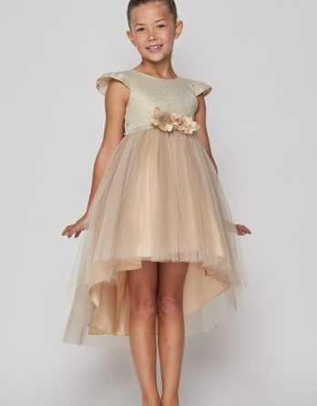 Girls champagne cap sleeve glitter top dress with high low tulle skirt. Matching 3D flower sash belt. Size 2-12.