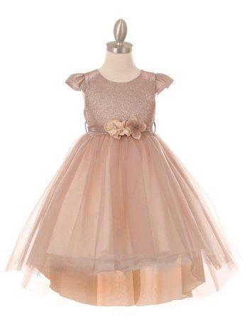 Girls blush cap sleeve glitter top dress with high low tulle skirt. Matching 3D flower sash belt. Size 2-12.