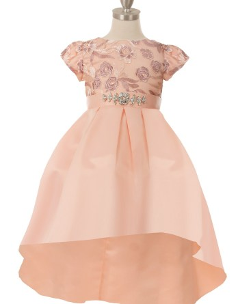 Beautiful pink rosette flower embroider top dress. Girls short sleeve, pleated, high low skirt, with rhinestone ribbon sash.