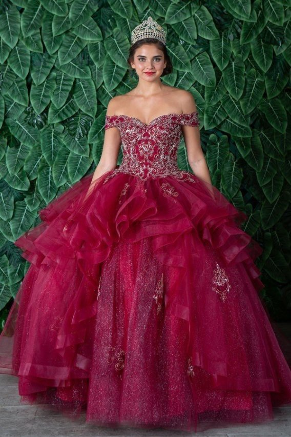 Burgundy sweetheart ball gown. Off the shoulder with beaded bodice.