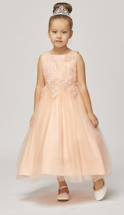 blush sleeveless tulle dress