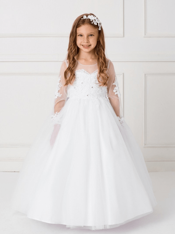 lace long sleeve flower girl dress