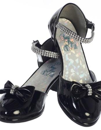 "Girl's black shoes with 1 3/4"" heel & rhinestones"