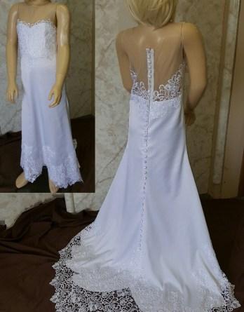 scalloped lace flower girl dress