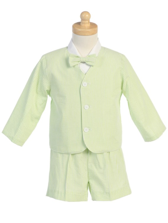 Green 4-Piece Suit Includes Jacket, Shorts, Shirt and Bow Tie