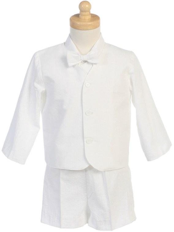 White 4-Piece Suit Includes Jacket, Shorts, Shirt and Bow Tie