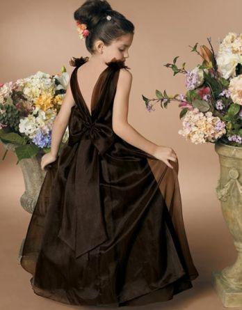 girls brown organza dress
