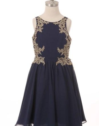 girls formal rhinestone navy dresses