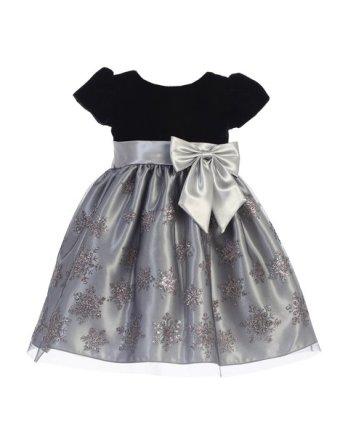 silver black velvet christmas dress