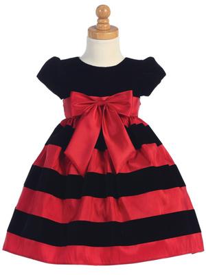 velvet striped christmas dress
