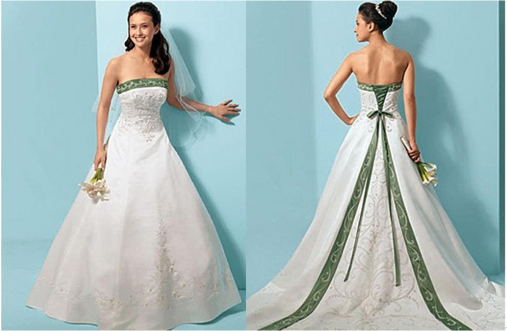 White And Green Wedding Dresses