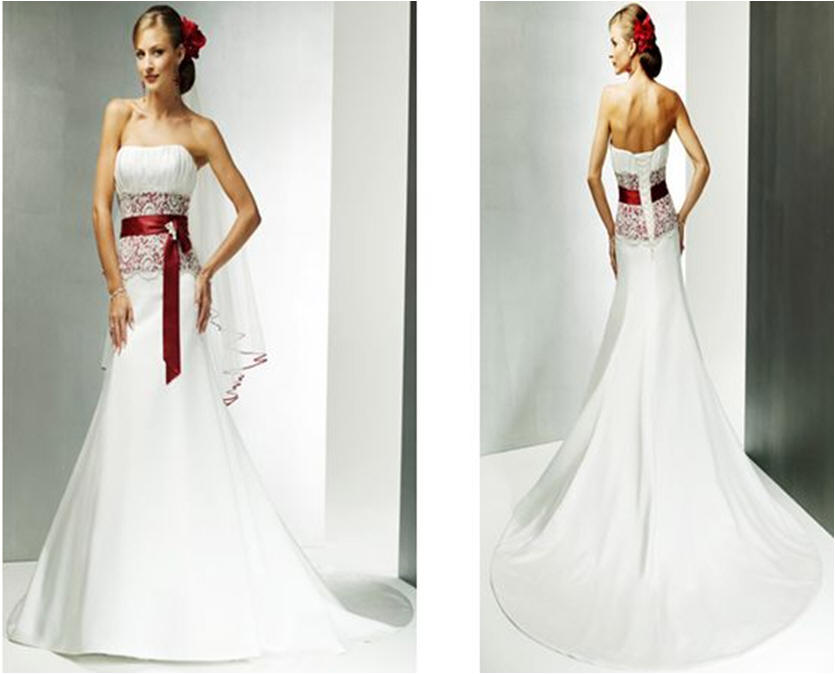 Wedding Gown In White And Red