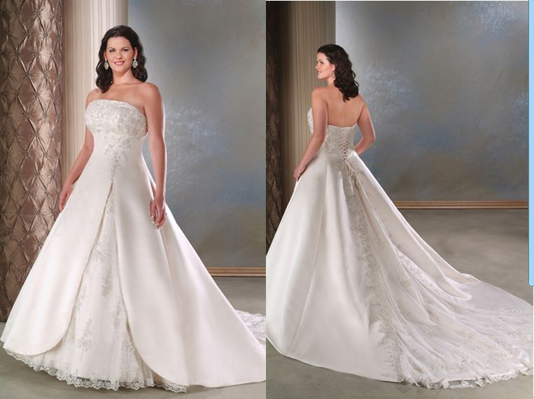 Strapless Plus Size Wedding Gown, Lace Up Wedding Gown