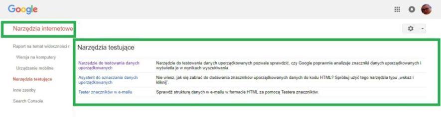 Boczne menu w google search console - narzędzia internetowe, narzędzia testujące