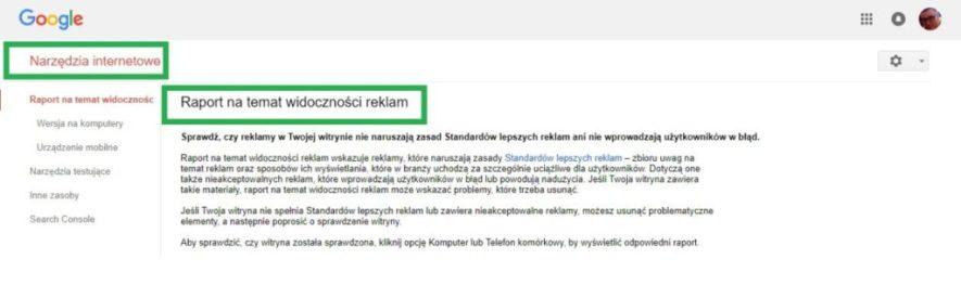 Boczne menu w google search console - raport na temat widoczności reklam