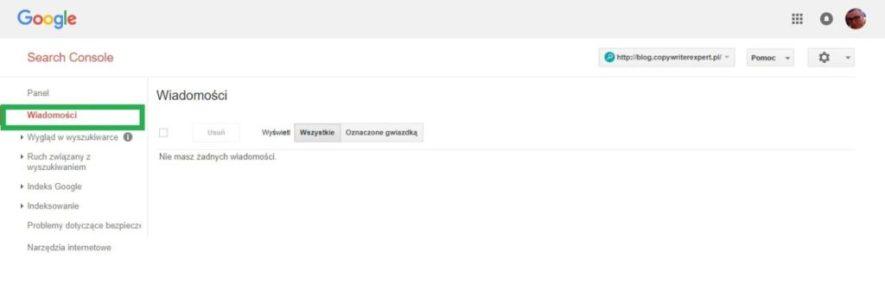 Boczne menu w google search console - wiadomości
